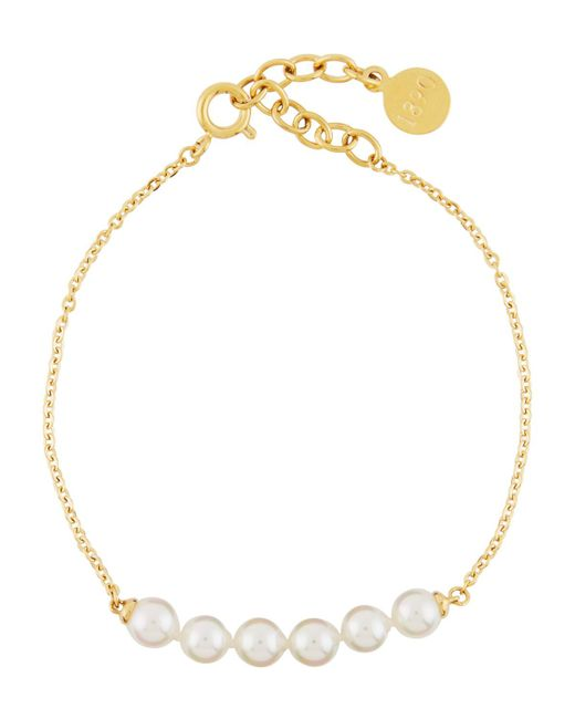 Majorica - White Beaded 5mm Pearl & Chain Bracelet - Lyst