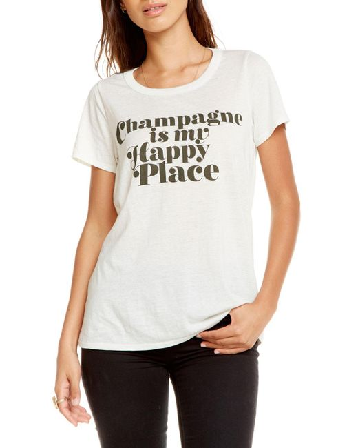 Chaser - White Happy Champagne Cutout Tee - Lyst