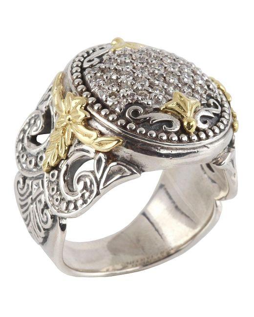 Konstantino - Metallic Asteri Ornate Round Pave White Diamond Ring - Lyst