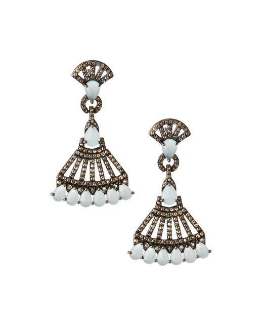 Bavna - Metallic Silver Drop Earrings With Champagne Diamonds & Aquamarine - Lyst