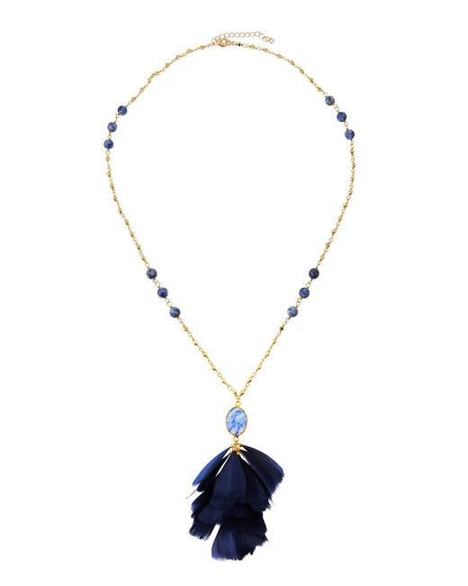 Panacea - Blue Stone & Feather Pendant Necklace - Lyst