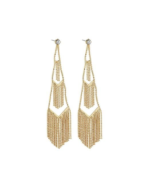 Lydell NYC | Metallic Tiered Fringe Drop Earrings | Lyst