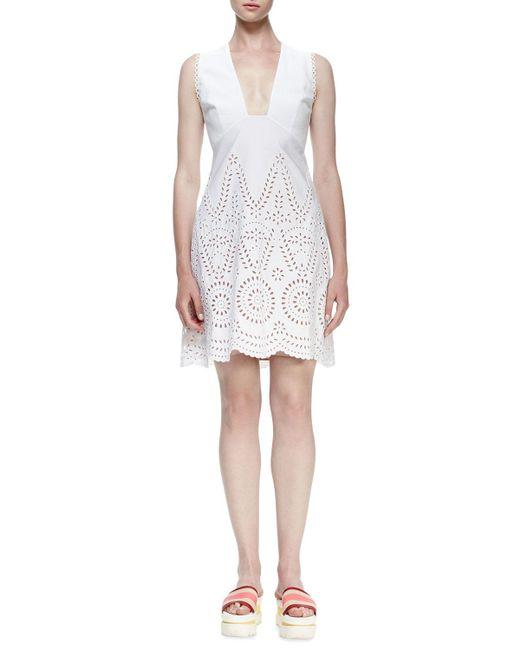 Stella McCartney - White Sleeveless Deep-v Eyelet Dress - Lyst