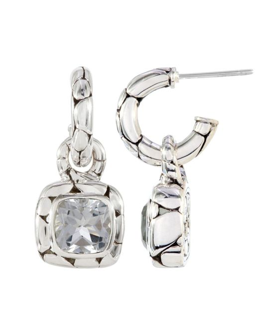 John Hardy - Metallic White Topaz Square Drop Hoop Earrings - Lyst