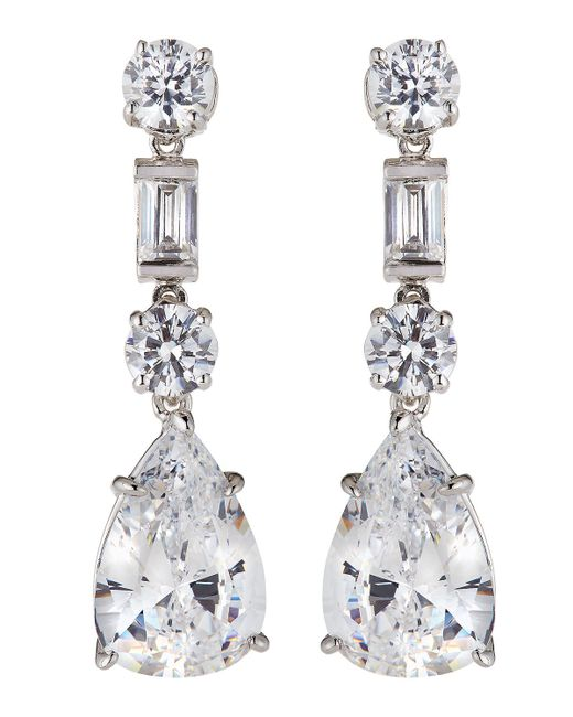 Fantasia by Deserio | White Cz Mixed-shape Drop Earrings | Lyst