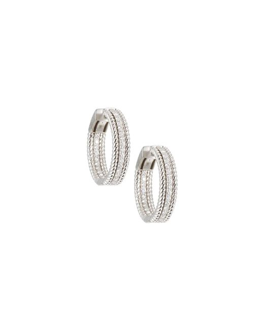 Neiman Marcus - 14k White Gold Twisted Diamond Hoop Earrings - Lyst