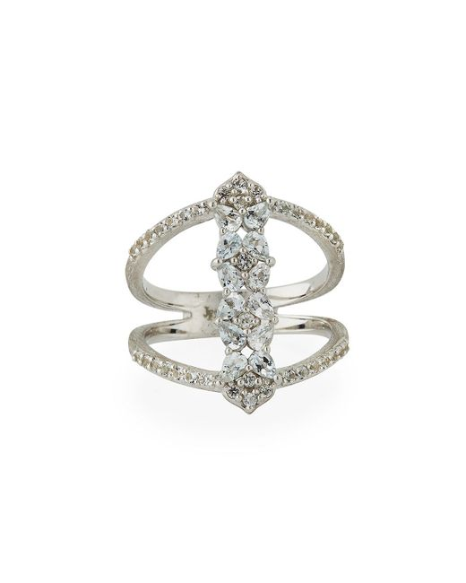 Jude Frances - Metallic Silver Open Flower Pave Ring - Lyst