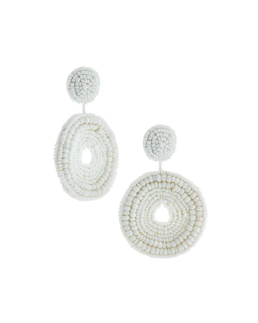 Kenneth Jay Lane - White Seed Bead Circular Drop Post Earrings - Lyst