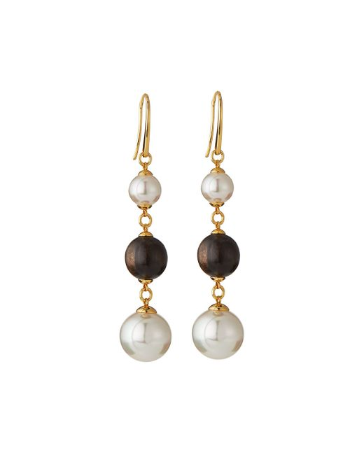 Majorica | White Wooden Bead & Organic Pearl Dangle Earrings | Lyst