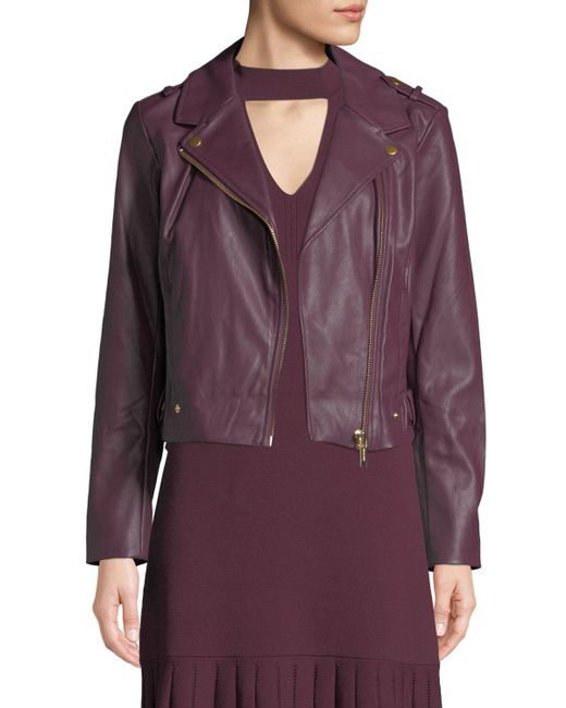 MICHAEL Michael Kors - Red Faux-leather Moto Jacket - Lyst