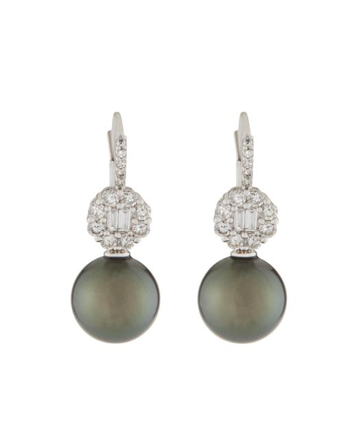 Belpearl - Green 18k Tahitian Pearl & Diamond Drop Earrings - Lyst
