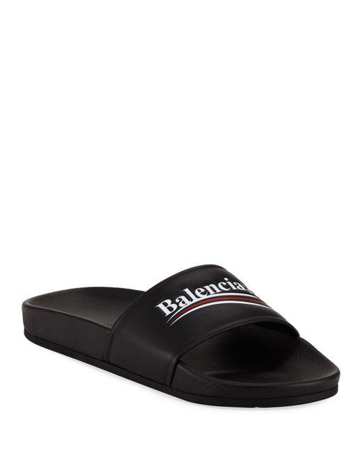 84bb97ac324 Lyst - Balenciaga Campaign Logo Pool Slides Black in Black for Men ...