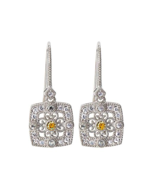 Judith Ripka | Yellow Square Crystal & Sapphire Filigree Drop Earrings | Lyst