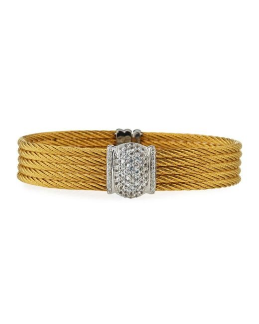 Alor - Yellow Five-row Stacked Bangle W/ White Sapphires - Lyst