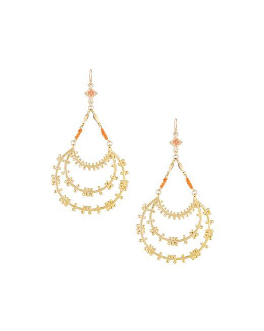Devon Leigh - Metallic Tiered Hoop Drop Earrings With Coral Beads - Lyst