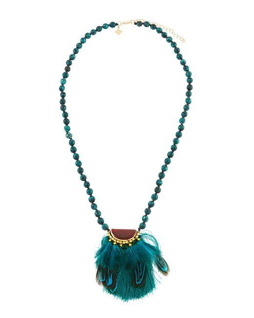 Panacea - Multicolor Beaded Feather Pendant Necklace - Lyst