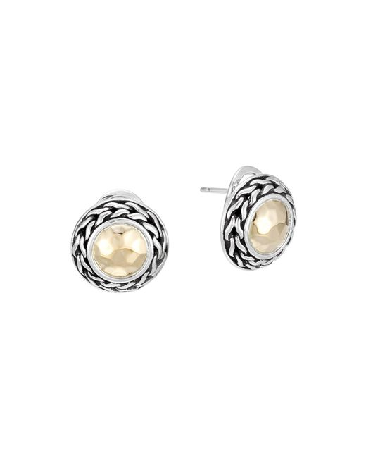 John Hardy | Metallic Palu 18k Gold & Sterling Silver Post Earrings | Lyst