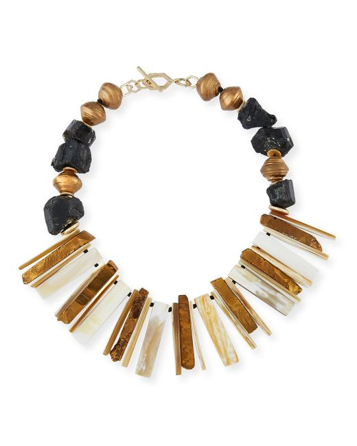 Akola - Multicolor Horn Bib Necklace - Lyst