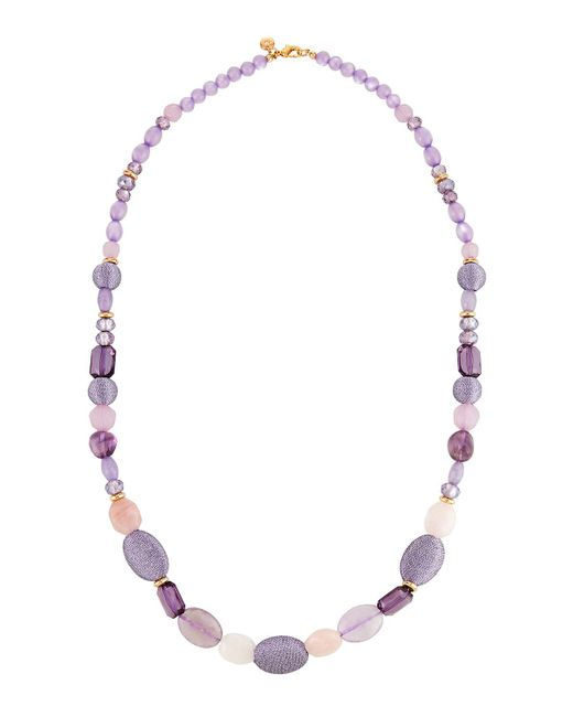 Lydell NYC - Purple Long Beaded Necklace - Lyst