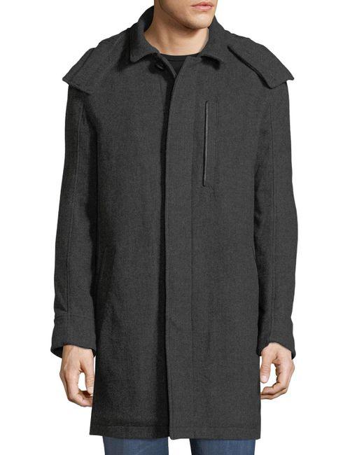Marc New York - Gray Boulevard Herringbone Coat W/ Removable Hood for Men - Lyst
