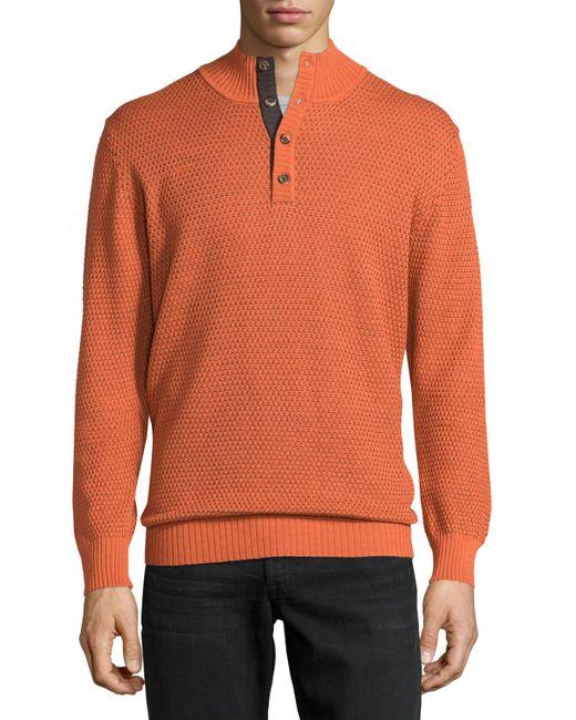 Robert talbott mock collar textured sweater in orange for for Robert talbott shirts sale