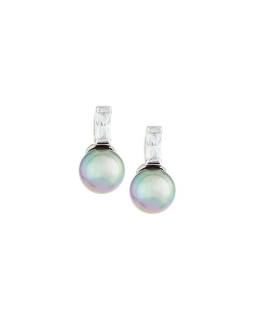 Majorica   Gray Pearl & Crystal Drop Earrings   Lyst