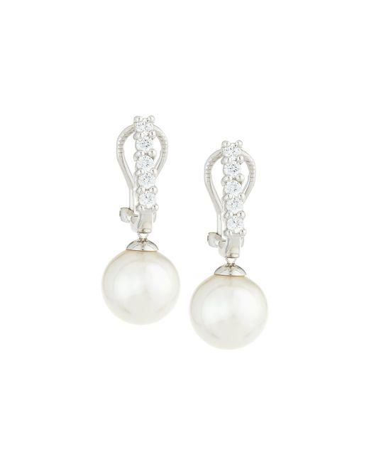 Majorica | White Pearl & Cz Crystal Drop Earrings | Lyst