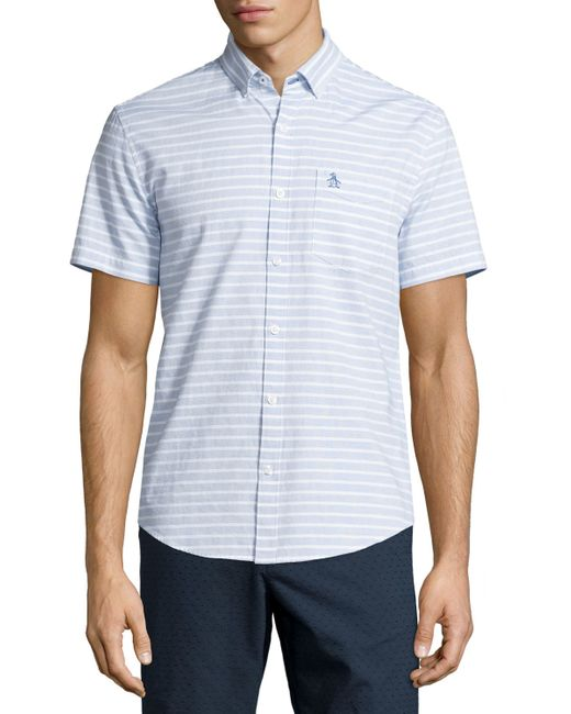 Original penguin horizontal stripe short sleeve sport for Horizontal striped dress shirts men