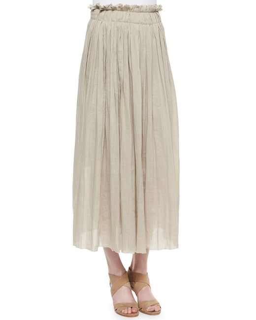 elie tahari pleated maxi skirt in white lyst