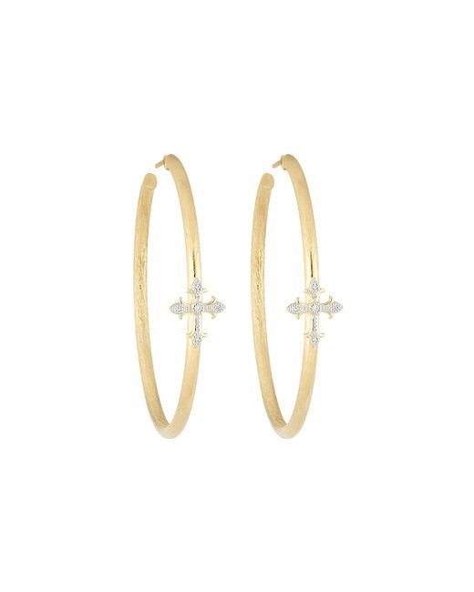 Jude Frances   Metallic 18k Fleur Cross Pave Diamond Large Hoop Earrings   Lyst