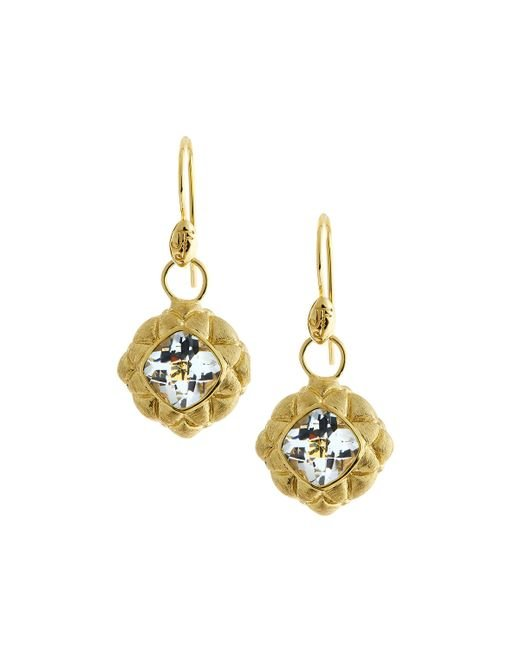 Jude Frances   Metallic 18k White Topaz Quilted Pillow Earring Charms   Lyst