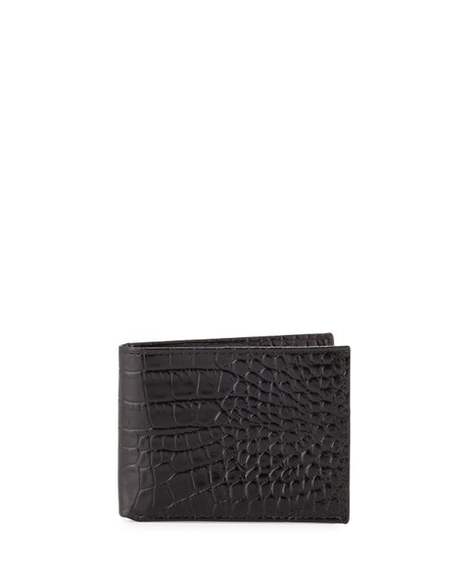 Neiman Marcus | Black Crocodile-embossed Slim Leather Wallet for Men | Lyst