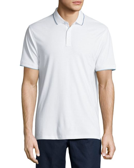 Michael Kors Tipped Jersey Knit Polo Shirt In White For