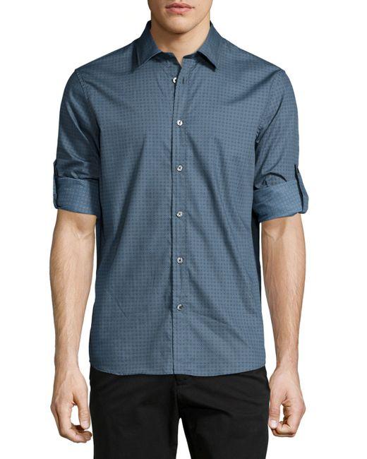 Michael Kors Roll Tab Geometric Print Shirt In Blue For