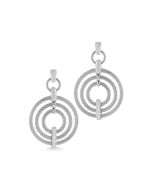 Alor | Metallic Micro-cable Pave Diamond Circle Drop Earrings | Lyst