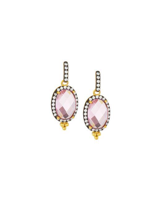 Freida Rothman | Multicolor Oval Pink Cz Crystal Drop Earrings | Lyst