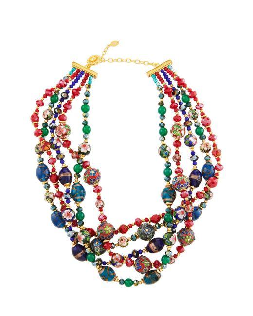 Jose & Maria Barrera - Red Five-row Multi-jewel Twist Necklace - Lyst