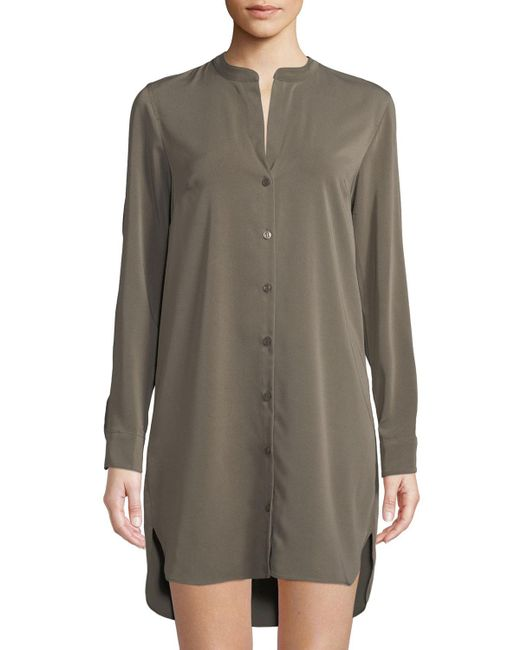 BCBGeneration - Green Cold-shoulder Long-sleeve Shirtdress - Lyst