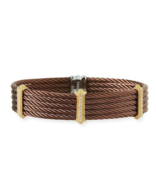 Alor - Brown Petra Stacked Cable Bangle W/ Diamonds - Lyst