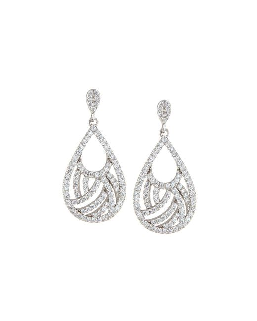 Fantasia by Deserio | Multicolor Woven Pave Cz Crystal Pear Drop Earrings | Lyst