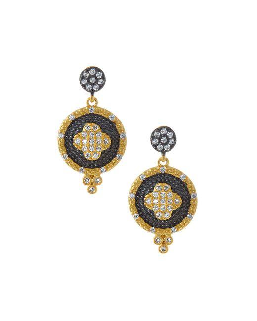 Freida Rothman - Metallic Pave Medallion Clover Double-drop Earrings - Lyst