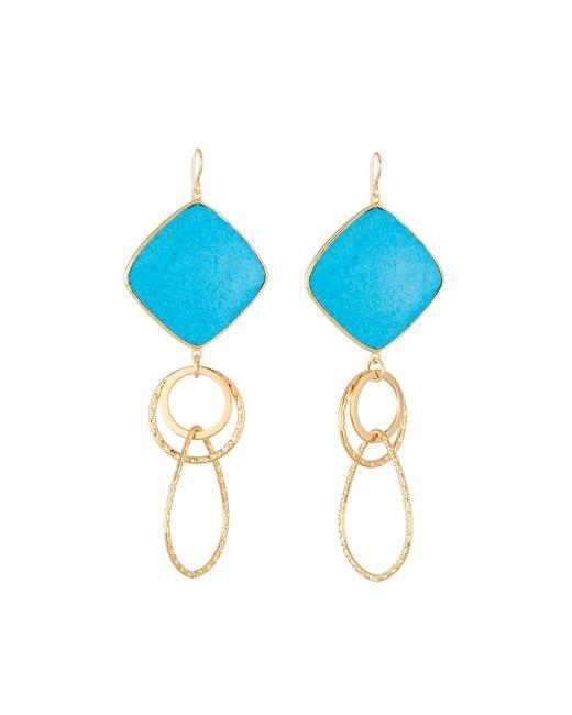 Devon Leigh | Blue Large Turquoise Bezel Link Drop Earrings | Lyst
