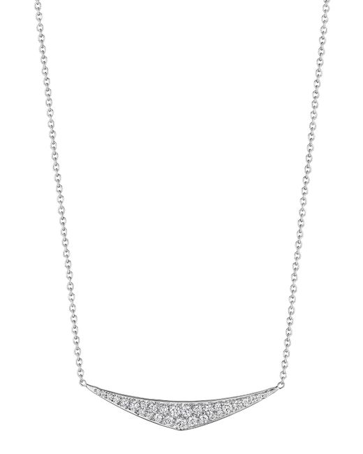 Penny Preville | 18k White Gold Pave Diamond Curved Pendant Necklace | Lyst