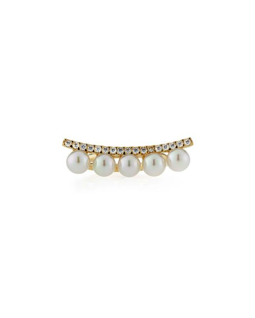 Majorica - White Brooke Pearly Cubic Zirconia Bar Ring - Lyst