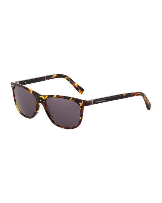 Ermenegildo Zegna | Red Rounded Square Plastic Sunglasses for Men | Lyst