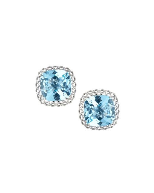 Roberto Coin | Ipanema 18k White Gold Blue Topaz Button Earrings | Lyst
