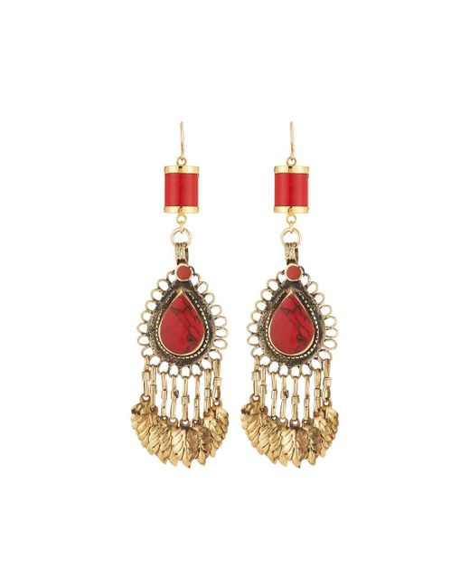 Devon Leigh - Red Coral Chandelier Earrings - Lyst