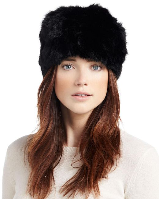 Adrienne Landau | Black Knit Rabbit Fur Beanie Hat | Lyst