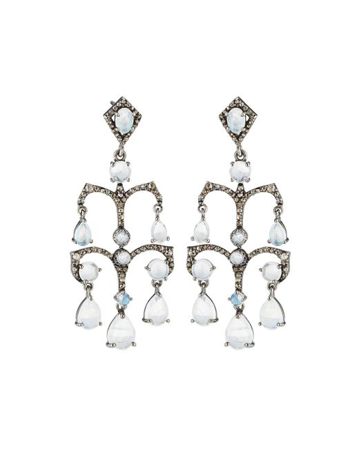Bavna | Metallic Tiered Moonstone & Diamond Drop Earrings | Lyst