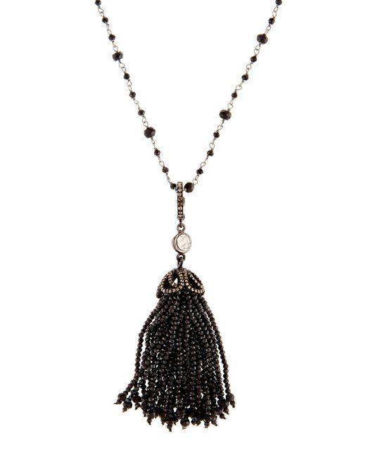 Bavna   Long Black Spinel & Diamond Tassel Necklace   Lyst